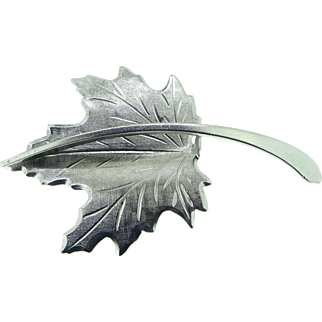 Sterling silver leaf pin by BEAU