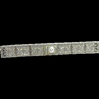 1920's Bar pin 14K white gold, old miners cut diamond center
