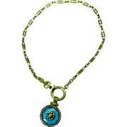 18K yellow gold blue enamel and diamond drop with 18K chain