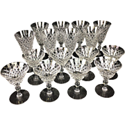 16 piece Set of Hawkes Diamond Delft Pattern Crystal Water Goblets and Champagne Glasses
