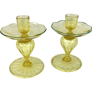 Pair of Victor Durand Art Glass Candlesticks in Spanish Yellow