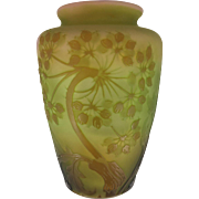 Galle French Cameo Art Glass Vase in Shades of Pink, Green and Amber