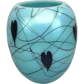 Fenton Turquoise Iridescent Hanging Hearts Art Glass Vase Signed and dated 1975