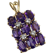 Unique Vintage 14K Gold Amethyst and Diamond Pendant with Diamonds set in Platinum