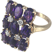 Unique Vintage 14K Gold Amethyst and Diamond Ring with Diamonds set in Platinum