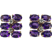 Unique Vintage 14K Gold Amethyst and Diamond Earrings with Diamonds set in Platinum