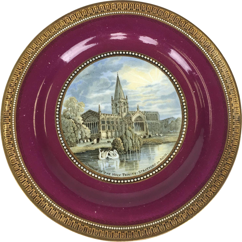 19th Century Transfer ware Plate by F & R Pratt marked #123 Holy Trinity Church