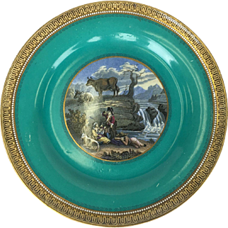 19th Century Transfer ware Plate by F & R Pratt featuring The Waterfall