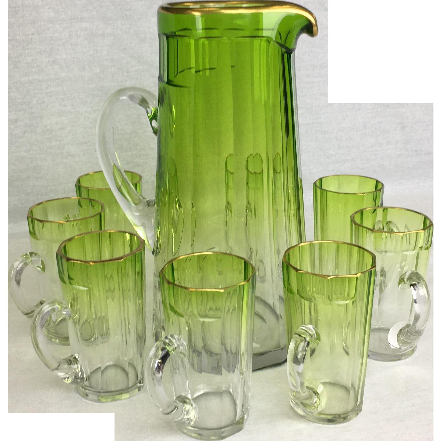 Moser Green Uranium Glass Gilt Edged Lemonade or Water Set