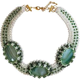 "Bead and Agate Natural Stone Handmade Necklace ""Spring Awakening"""