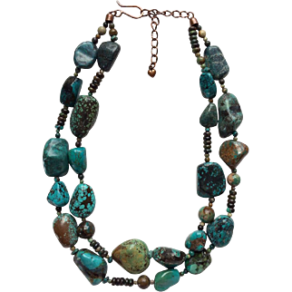 Charming Vintage Turquoise Nugget Necklace