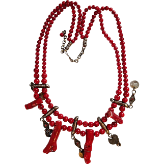 Dyed Bead Bamboo Coral Double Stranded Necklace