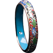 Chinese Cloisonne Bangle Bracelet, Champleve Enamel, Rose Gold, Floral Bangle, Estate Jewelry, Chinese Export