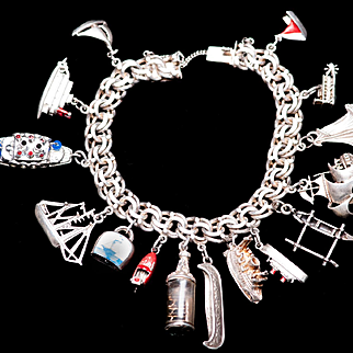 Nautical Bracelet STERLING Charm Bracelet Boats Ships