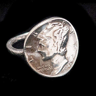 Vintage Sterling 1940 Mercury Winged Dime Coin Ring