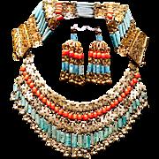Vintage Art Deco Egyptian Revival Coral Faience Bib Parure Necklace, Bracelet & Earrings