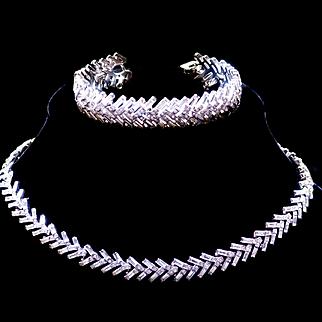 Vintage Crown Trifari Pavé Baguette Rhinestone Choker Necklace and Bracelet 1960s Set