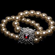 Vintage KJL Fx Ruby, Fx Pearl & Rhinestone Stretch Double Strand Pearl Bracelet Kenneth J. Lane