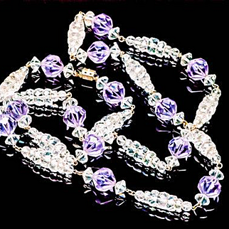 Art Deco Faceted Amethyst Czech Glass and Crystal Necklace