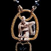 Ji Gong (济公) God of WEALTH Gold Gilt Art Deco Necklace Bohemian Necklace Oriental HORN Necklace Amulet
