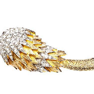 Vintage Castlecliff Rhinestone Pavé Flower Head Brooch