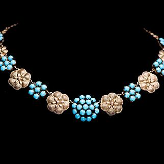 Vintage Art Deco Fishel Nessler F N Co. Glass Faux Turquoise Gold Gilt Choker Necklace 1920s