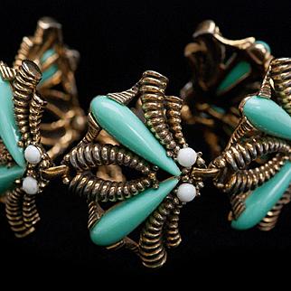 Iconic Elsa Schiaparelli Bracelet INSECT Jewelry Blue Bracelet SIGNED