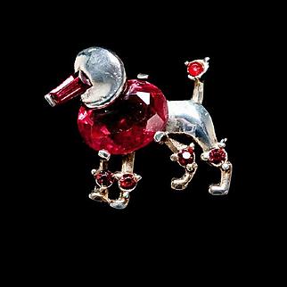 Vintage Crown Trifari Alfred Phillipe Ruby Red Miniature Poodle Brooch 1949