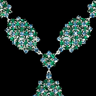 1960s Necklace, Blue Green Necklace, Rhinestone Necklace, Vintage Blue Green Necklace, Pendant Necklace