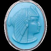 Egyptian Nekhbet Blue Pâte de Verre Art Nouveau Art Deco Sterling Cameo Brooch