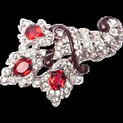 CROWN TRIFARI Vintage Philippe 1940s Cornucopia Fur Clip Pin Clip Red Rhinestone