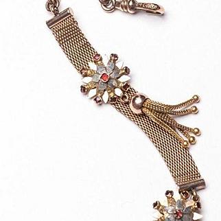 Victorian 14K Gold Watch Fob, 18 Rose Cut Ruby, 10K Watch Chain, 14K Fox Tail Tassel Fob, Antique Watch Fob