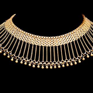 HOBÉ Egyptian Revival Mesh Fringe Faux Garnet Red Rhinestone Crystal Choker Necklace 1930s HOBE