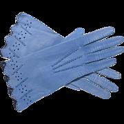 Vintage Periwinkle Blue Ladies Driving Gloves Size 6 3/4 Kid Gloves Kid Leather Gloves 1940s Gloves
