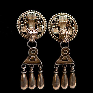 Vintage Chinese Gilt Silver Dragon Dangling Earrings Victorian Gold Gilt Earrings Dragon Earrings Game of Thrones