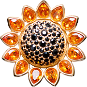 SWAROVSKI Sunflower Crystal Pin Brooch SIGNED 22KT Gold Plated Retired