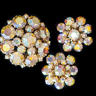 Weiss Demi Par Mirror Finish Clear AB Brooch Weiss Brooch Weiss Earrings 1960s Brooch Mad Men Jewelry 1960s Earrings