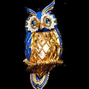 "Vintage Joesph Mazer Jomaz Horned Owl Brooch Enamel Rhinestone Brooch Owl Pin - Large 3"" Signed"