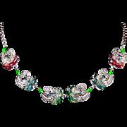 Sterling Silver Art Nouveau Uncas Poured Glass Flower Necklace Marcasite Enamel Sterling Necklace 1920s