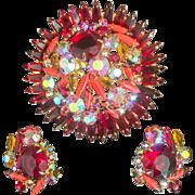 Verified DeLizza Elster Ruby Red Holiday Rhinestone Juliana Brooch Earrings AB Aurora Borealis D&E SET