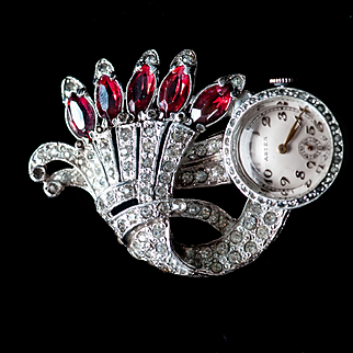 Vintage Art Deco Lapel Watch Dorson's DO Creations case holding a Swiss Aster Watch Rhinestone Watch Pin