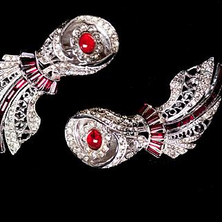 Vintage Art Deco Coro Dress Clips Vintage Dress Clips Rhinestone Dress Clips Comet Jewelry Duette