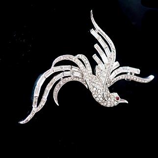 1950 Alfred Philippe Trifari Art Deco Pave Rhinestone Baguette Figural Bird Pin Bird of Paradise