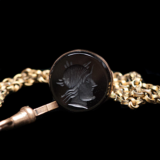 9K Gold Antique Watch Fob and Onyx Seal of Roman God Mercury