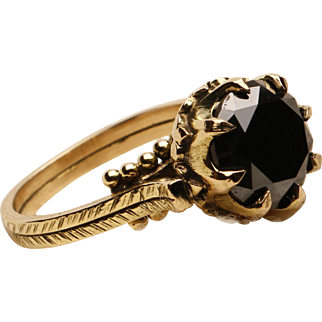 18k Gold and Black Diamond Engagement Ring