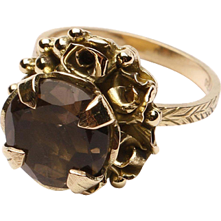 18k Gold and Smoky Quartz Ring