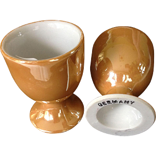 Two German Lustre Wear Egg Holders