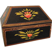 Folk art handpainted box with hip-roofed shape