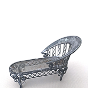 Miniature dollhouse metal chaise, perfect for garden, porch or solarium