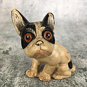 Antique or vintage miniature wax French bulldog, doll companion